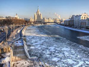 Фотография Россия Москва Дома Реки Зима Лед Лестницы Водный канал Zaryadye город