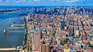 Фотография Штаты Здания Пирсы Нью-Йорк Мегаполис Города