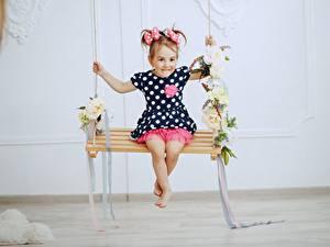 Фотография Качели Девочки Платье Дети