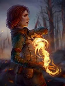 Картинки The Witcher 3: Wild Hunt Огонь Магия Маг волшебник Фан АРТ Рыжая Руки Triss Merigold Игры Фэнтези Девушки