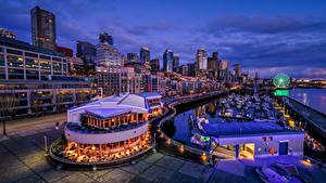 Фото США Сиэтл Дома Причалы Вечер Кафе Города