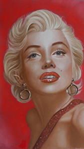 Обои Мэрилин Монро Рисованные Блондинка Смотрит Знаменитости Девушки