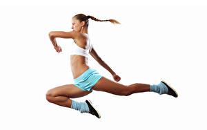 Обои Белым фоном Шатенки Тренировка Прыжок Рука Ноги молодая женщина Спорт