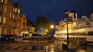 Обои Польша Гданьск Здания Причалы Улице Ночные Уличные фонари город