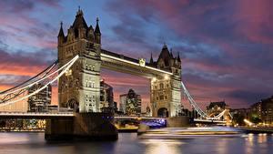 Картинка Мосты Реки Англия Лондоне Города