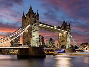 Картинка Мосты Реки Англия Лондоне
