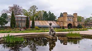 Обои Германия Сады Здания Фонтаны Скульптуры Botanischer Garten Karlsruhe Природа