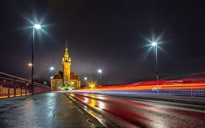 Фотография Германия Дороги Ночные Асфальт Уличные фонари Dortmund, Port Bureau Города
