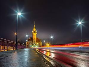 Фотография Германия Дороги Ночные Асфальта Уличные фонари Dortmund, Port Bureau Города
