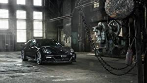 Картинка Порше Черный Металлик 2017 TechArt Panamera Grand GT машина