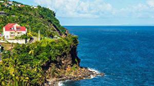 Обои Берег Здания Тропический Скала Basse-Terre Island Guadeloupe Природа