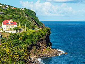 Обои Берег Здания Тропики Скала Basse-Terre Island Guadeloupe