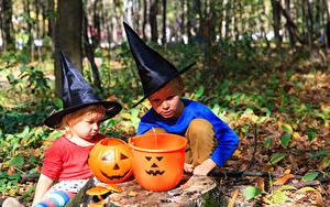 Картинки Хэллоуин Тыква Мальчики 2 Шляпа Дети