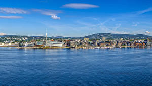 Фотографии Норвегия Осло Здания Пирсы Залива Холм город