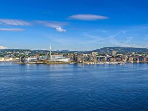 Фотографии Норвегия Осло Здания Пристань Залив Холм Города