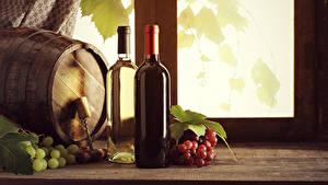 Фотографии Бочка Вино Виноград Бутылка Пища