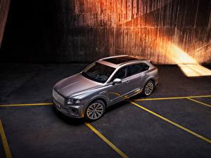 Картинки Бентли CUV Серебряный Металлик Сверху Bentayga V8, Worldwide, 2020 авто