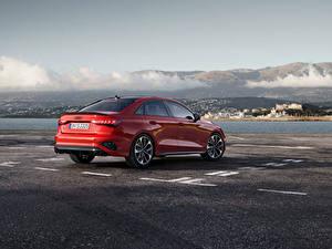 Картинки Ауди Красных Металлик Сбоку S3 Sedan, 2020 Автомобили