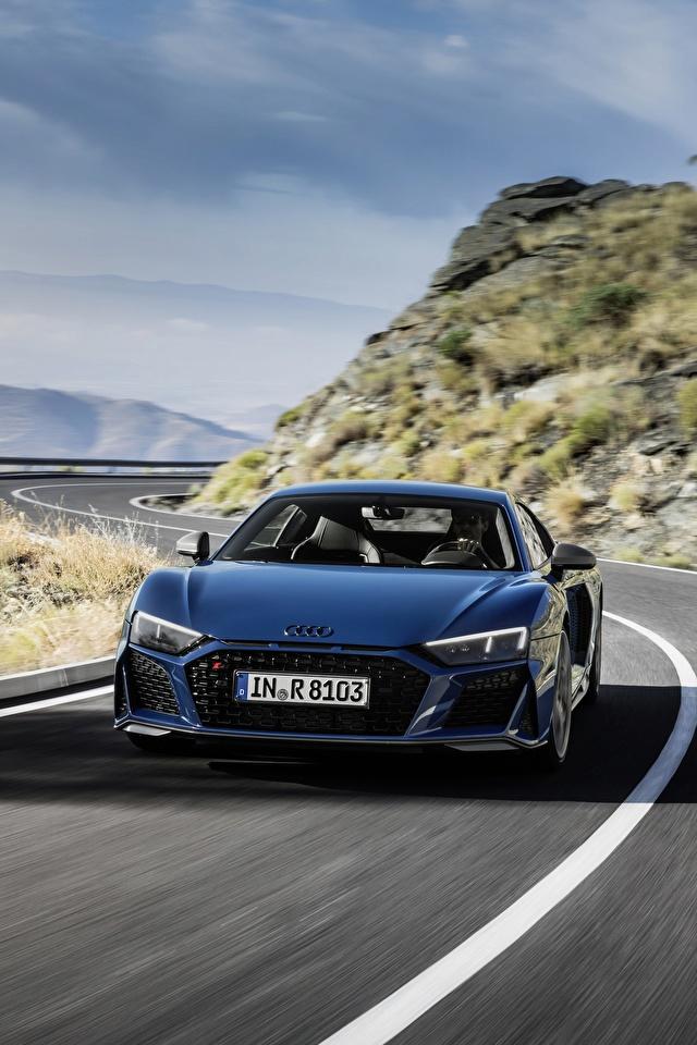 Картинки Audi R8 V10 quattro performance Синий Дороги едущая авто Спереди 640x960 для мобильного телефона Ауди синяя синие синих едет едущий скорость Движение машина машины Автомобили автомобиль
