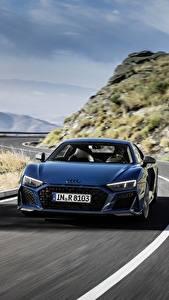Картинки Дороги Audi Спереди Синяя Едущая R8 V10 quattro performance Автомобили