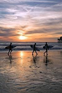 Картинки Америка Рассветы и закаты Серфинг Океан Пляжи Трое 3 Montana, Huntington Beach Природа