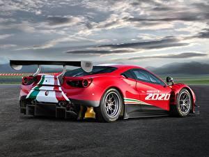 Фотографии Ferrari Красный Облачно Сзади 488, GT3, Evo