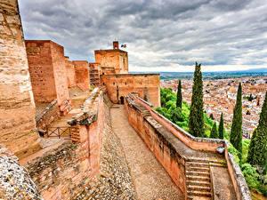Картинки Испания Крепость Дома Granada Alhambra Города
