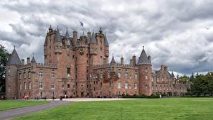 Обои Шотландия Замки Газоне Glamis Castle город