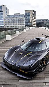 Фотографии Кенигсегг Черный Металлик Сверху 2014 One 1 Worldwide Машины