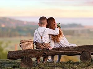 Фотография Любовь Сидя Два Мальчики Девочки Скамья Объятие Вид сзади ребёнок