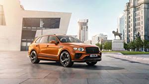 Обои Bentley Металлик Кроссовер Оранжевый Bentayga V8 Worldwide, 2020 Автомобили