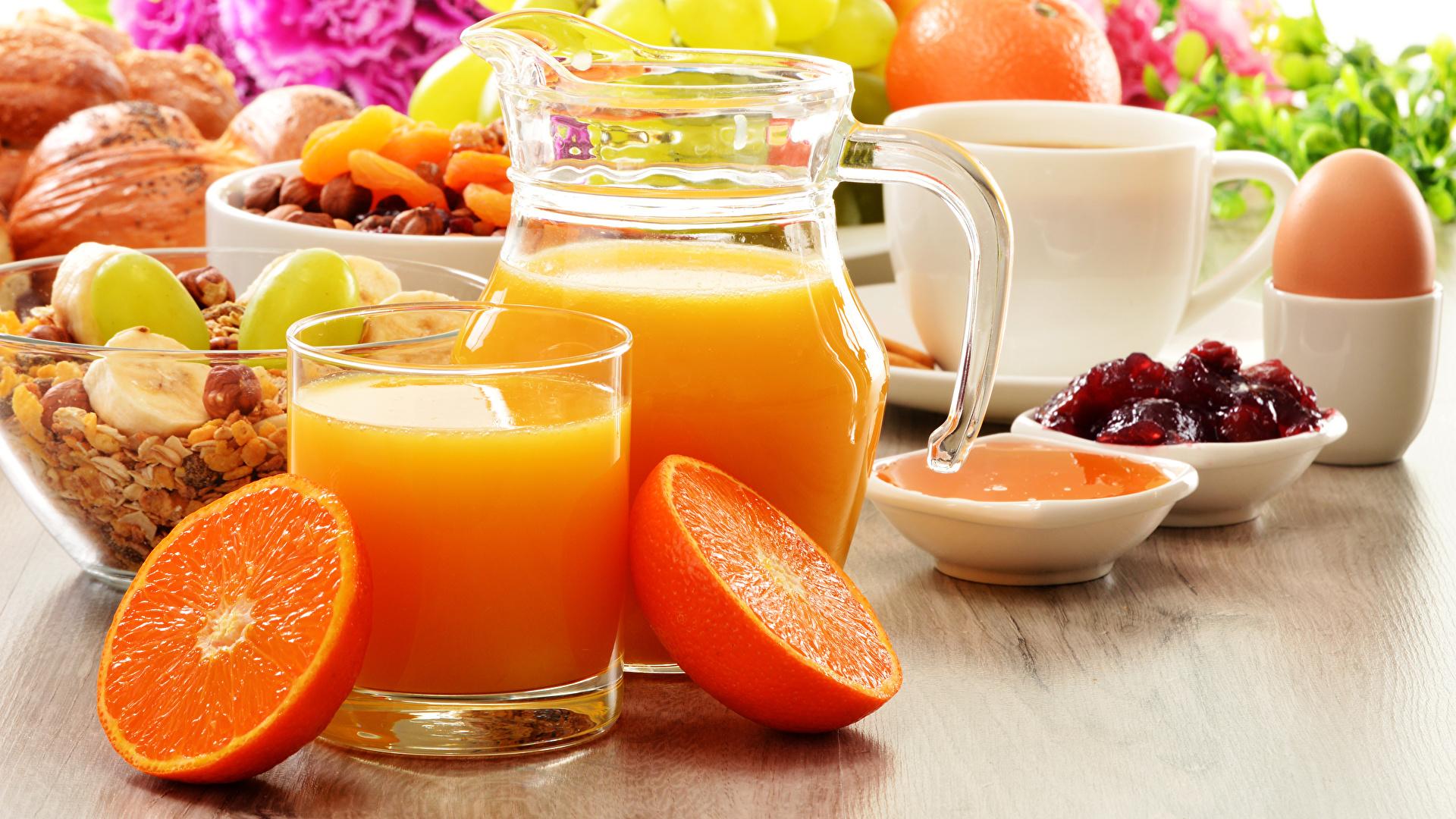 Фотографии яйцами Сок Апельсин Кувшин стакана Продукты питания Напитки 1920x1080 яиц Яйца яйцо Стакан кувшины стакане Еда Пища напиток