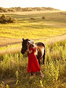 Картинки Луга Лошадь Шляпы Платья девушка