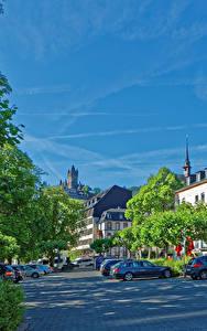 Картинки Кохем Германия Здания Улица Деревья