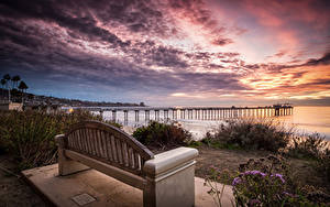 Обои Штаты Рассветы и закаты Пристань Калифорния Залива Скамья La Jolla Природа