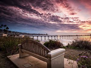 Обои Штаты Рассветы и закаты Пристань Калифорния Залив Скамья La Jolla Природа