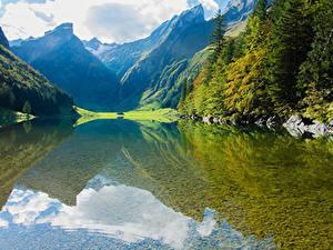 Фотография Горы Озеро Природа