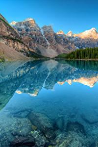 Картинка Канада Парки Гора Озеро Лес Пейзаж Банф Отражении Moraine lake