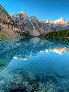 Картинка Канада Парки Горы Озеро Леса Пейзаж Банф Отражение Moraine lake