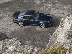 Обои Porsche Винтаж Синяя Металлик Сверху 1990-92 911 Turbo 3.3 Coupe автомобиль
