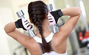 Фотографии Фитнес Спина Гантели Косички Перчатки Физические упражнения Спорт Девушки