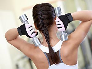 Фотографии Фитнес Спина Гантели Косички Перчатки Тренируется спортивные Девушки