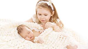 Фотографии Белом фоне Девочки 2 Грудной ребёнок Спящий Дети
