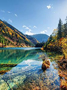 Обои Цзючжайгоу парк Китай Парки Озеро Гора Осенние Пейзаж Природа