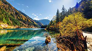 Обои Цзючжайгоу парк Китай Парки Озеро Гора Осенние Пейзаж