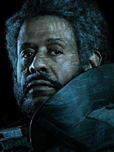 Обои Мужчины Изгой-один. Звёздные войны: Истории Лицо Черный фон Борода Негр Saw Gerrera (Forest Whitaker) Кино Знаменитости