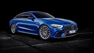 Фотографии Мерседес бенц На черном фоне Синяя Металлик Concept, GT-Class авто