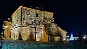 Картинка Франция Дома Ночью Деревья Honfleur Города