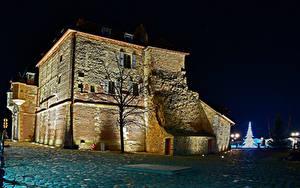 Картинка Франция Дома Ночь Деревья Honfleur Города