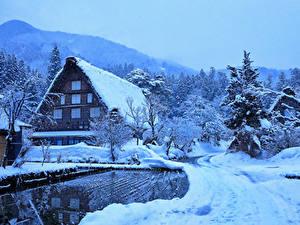 Фотографии Япония Зима Дома Снеге Деревня Shirakawa Города